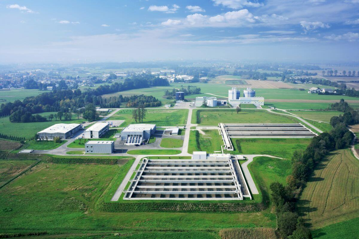 Bird's-eye view of the Central Waste Water Treatment Plant Ljubljana.