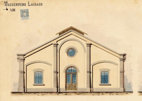 Načrt fasade upravne stavbe vodarne Kleče (Vir: Zgodovinski arhiv Ljubljana).